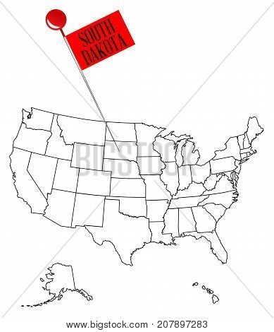 An outline map of USA with a knob pin in the state of South Dakota