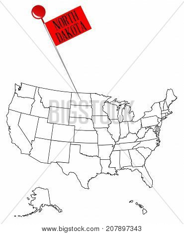 An outline map of USA with a knob pin in the state of North Dakota