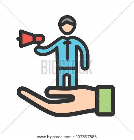 Self, promotion, business icon vector image. Can also be used for soft skills. Suitable for mobile apps, web apps and print media.