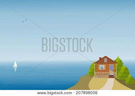 House on the mountain over the sea, three fir trees in the yard, yacht and birds on the horizon. Vector illustration