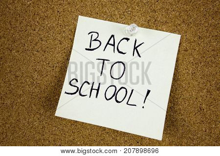 Back to school reminder on the cork bulletin board Education bussiness concept