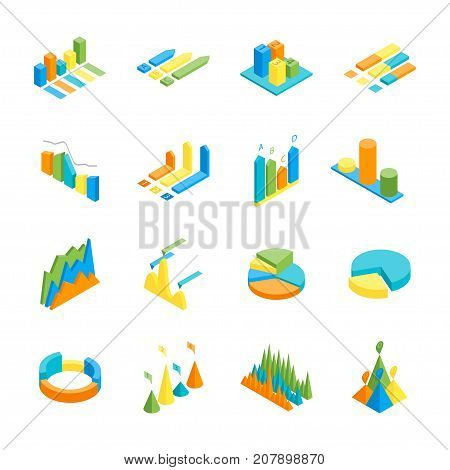 Charts and Graphs Icon Set 3d Isometric View for Design Documents, Reports, Presentations or Promotion. Vector illustration of Chart and Graph
