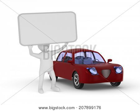 Man with banner and red car on white background. Isolated 3D illustration