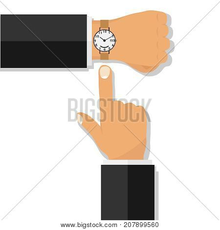 Hand with a wristwatch. The finger points to the clock. Flat design vector illustration vector.