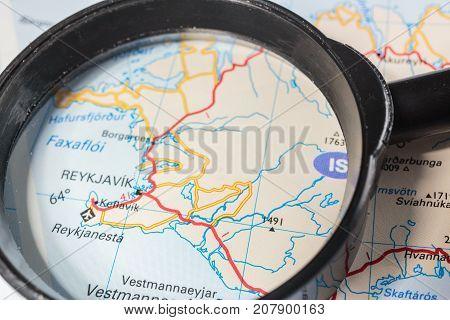 Vinnitsa Ukraine - August 25 2017: Reykjavik map through the magnifying glass