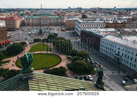 View of Saint Isaac's square from St. Isaac's Cathedral in St. Petersburg, Russia.
