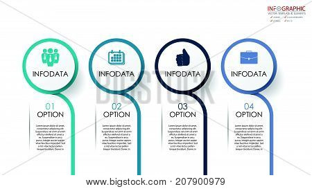 Vector circle arrows infographics set. Element infographic template for diagram graph presentation and chart. Business concept with options parts steps or processes. Abstract background.