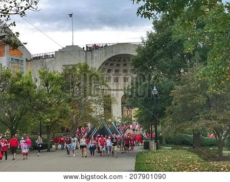 COLUMBUS, OHIO - OCTOBER 7, 2017:  Originally built in 1922, Ohio Stadium is one of the most historic landmarks in all sports and is home to the OSU Buckeyes.