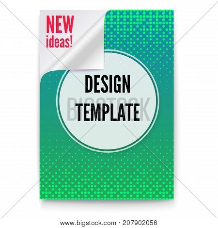 Layout template in A4 size, business brochure, flyer design. Paper poster with creative idea and curved corner on white background. Green sheet of paper with the folded corner, 3D illustration