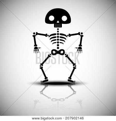 cartoon halloween skeleton vector illustration on reflect background
