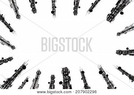 .silhouette Of The Antenna Cell Phone Of Cellular And Communication System Tower On White Background