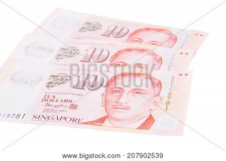 Singapore Banknotes Dollars (10 Sgd) Isolated On White Background