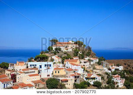 Panoramic view of Ioulida village on Kea island in Greece.
