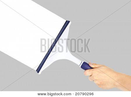 Hand cleaning grey window