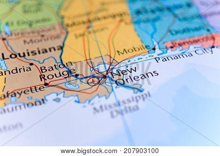 Vinnitsa Ukraine - August 25 2017: Louisiana map