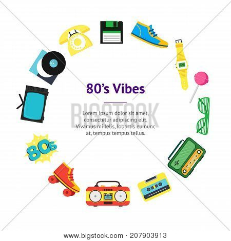 Cartoon Eighties Style Symbol Banner Card Circle Retro Concept of Audio Tape, Phone and Shoe Accessory Hipsters. Vector illustration