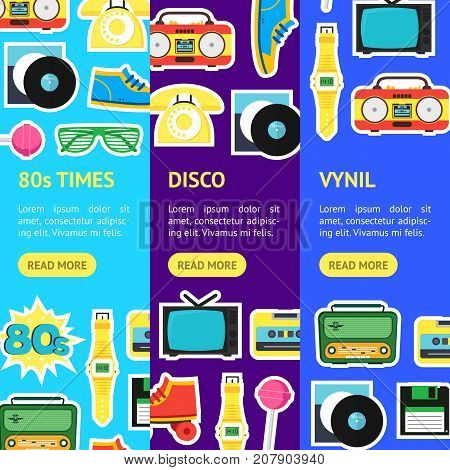 Cartoon Eighties Style Symbol Banner Vecrtical Set Retro Concept of Audio Tape, Phone and Shoe Accessory Hipsters. Vector illustration
