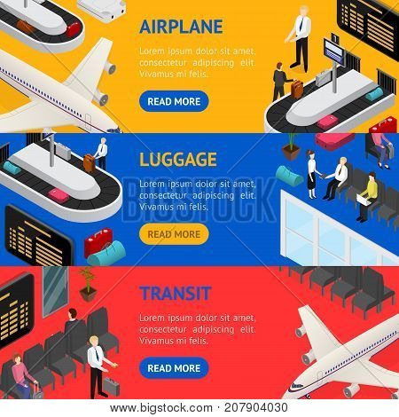 Airport Zone Luggage Baggage Reclaim Interior and Transit Banner Horizontal Set Isometric View. Vector illustration