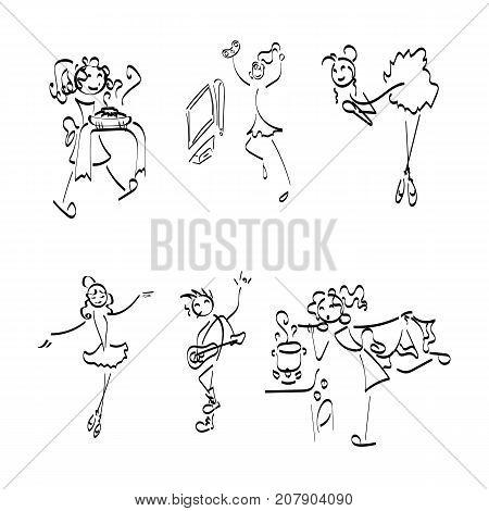 Doodle stickman collection. Illustration concept set. Vector image.