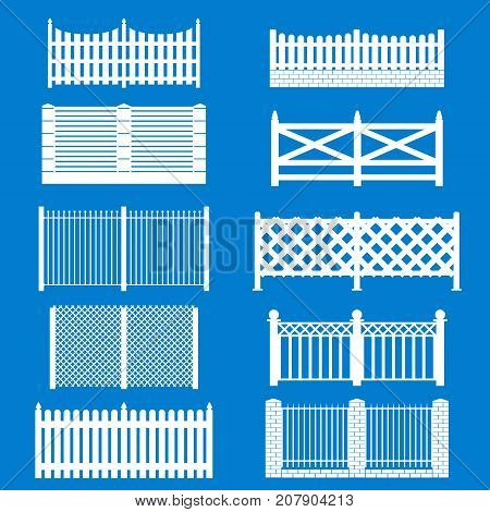 Silhouette White Fence Icon Set Isolated on a Blue Background Barrier for Protection Garden, House and Farm. Vector illustration