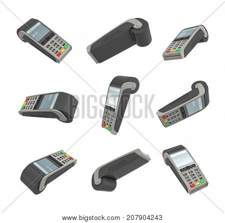 3d rendering of several randomly placed payment terminals on white background. Sales and payment. Money transactions. Revenue.