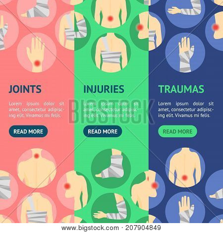 Human Injuries of Body, Hand and Foot Set Bandage, Center Pain Banner Vecrtical Set Concept Treatment. Vector illustration