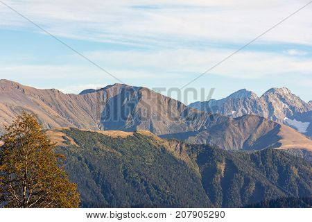 Autumn landscape in the mountains of the Western Caucasus