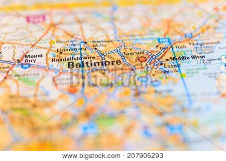 Vinnitsa Ukraine - August 25 2017: map of Baltimore