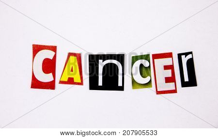 cancer word made from magazine letters with letters Health concept