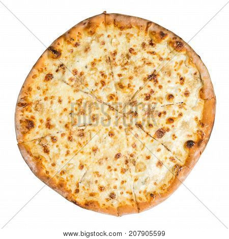 Top View Of Pizza Quattro Formaggi Isolated On White
