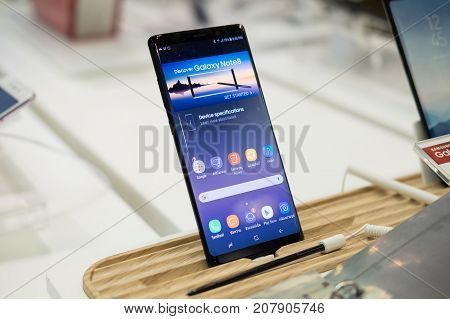 CHIANG MAI THAILAND - SEPTEMBER 29: Samsung Galaxy Note 8 with S Pen is displayed for editorial purposes. at mobile shop