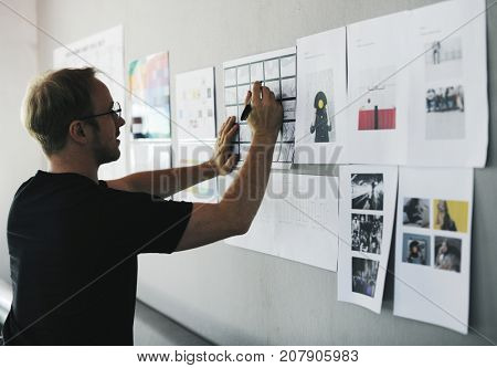 Start up Business People Looking on Strategy Board Information Thoughtful
