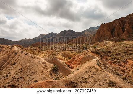 Panorama of the canyon fairytale or skazka Issyk-Kul Kyrgyzstan .