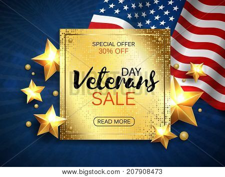 Veterans day sale banner template design. Golden plate on patriotic background. Vector