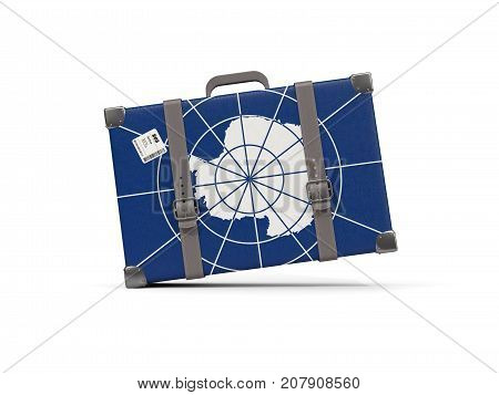 Luggage With Flag Of Antarctica. Suitcase Isolated On White