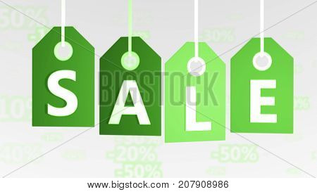 Lime Green Sales Tags Illustration