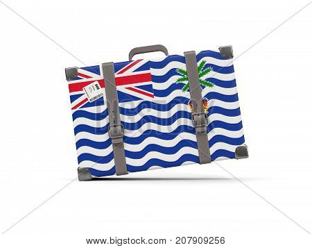 Luggage With Flag Of British Indian Ocean Territory. Suitcase Isolated On White