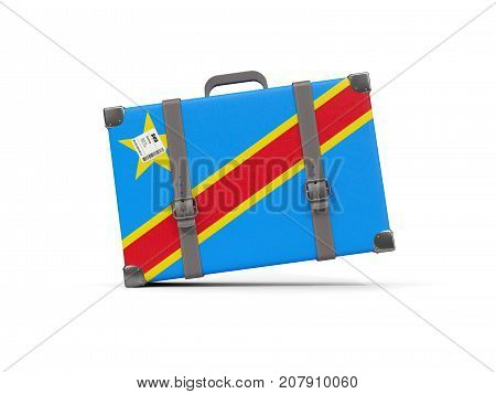 Luggage With Flag Of Democratic Republic Of The Congo. Suitcase Isolated On White