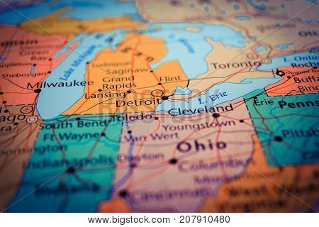 Vinnitsa, Ukraine - August 25 , 2017: Us Map