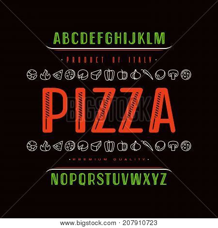 Decorative sanserif font and pizza box cover. Letters for logo and title design. Color print on black background