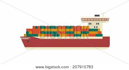 The ship is carrying containers. Trans shipping flat vector design.