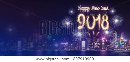 Happy New Year 2018 Firework Over Cityscape Building Near Sea At Night Time Celebration,mock Up Bann