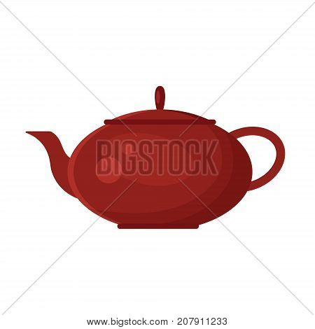 Vector flat teapot icon logo isolated on white background. Tea symbol, design element for restaurant menu, recipe, kitchen - stock illustration.