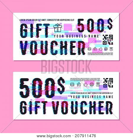 Set of gift voucher template. Design with glitch distortion effect