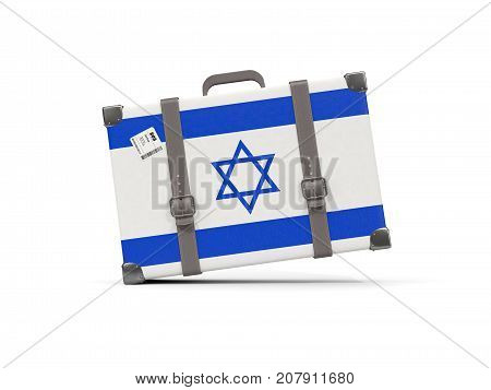 Luggage With Flag Of Israel. Suitcase Isolated On White