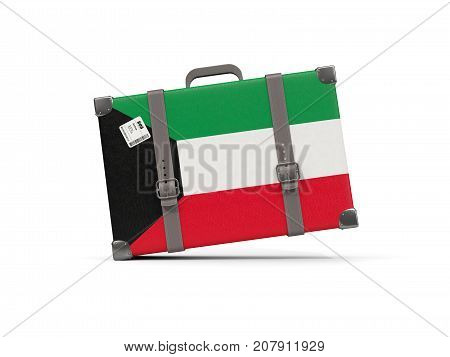 Luggage With Flag Of Kuwait. Suitcase Isolated On White