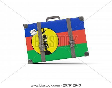 Luggage With Flag Of New Caledonia. Suitcase Isolated On White