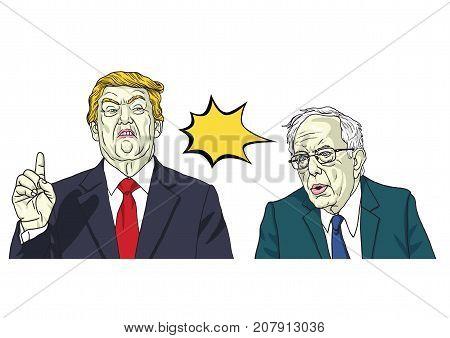 Donald Trump and Bernie Sanders. Vector Portrait Cartoon Caricature Illustration. October 9, 2017