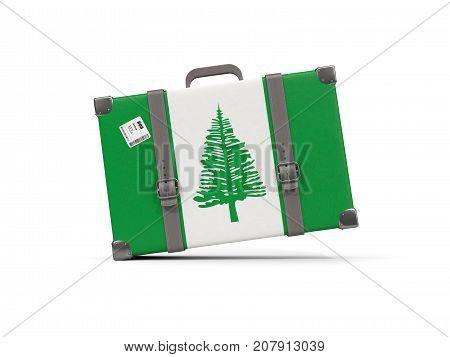 Luggage With Flag Of Norfolk Island. Suitcase Isolated On White