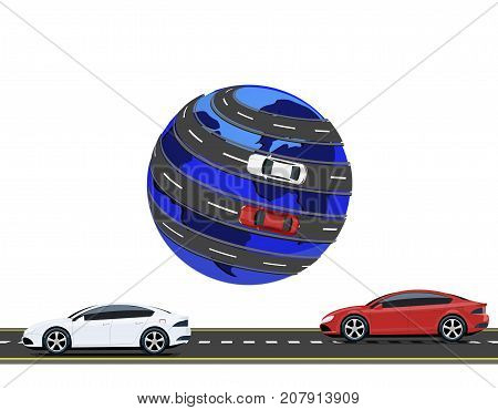 Travel by car around the world. Road, high-speed highway machine. Vector illustration